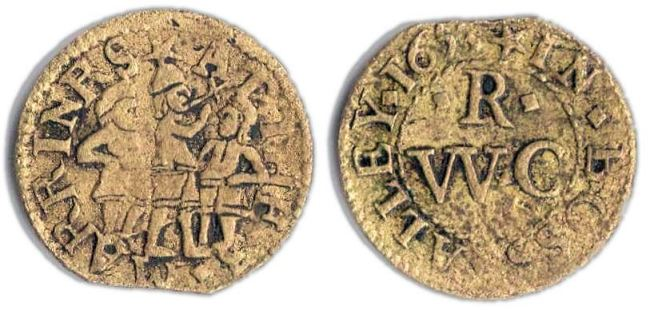 A farthing token issued in the name of the Three Mariners in Boss Alley, London