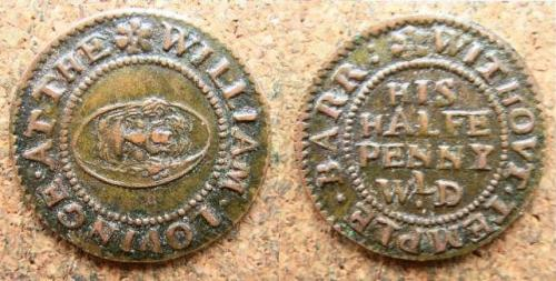 A half penny token of William Lovinge of Temple Barr Without