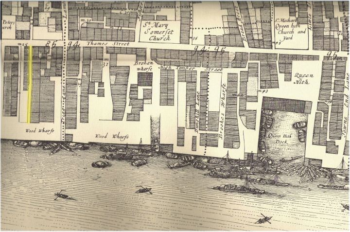 Queenhithe showing the location of Boss Alley from John Ogilby & William Morgan's 1676 Map of the City of London