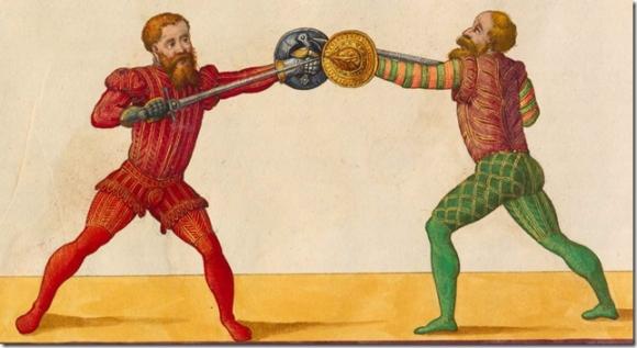 Elizabeathan gentlemen engaging in sword and buckler play