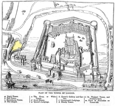 The Tower of London (c.1600) indicating the area of the Bulwark between the Lion and the Bulwark Gates