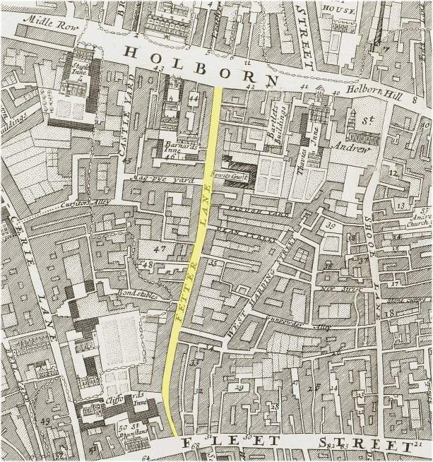 Fetter  Lane district of the Farrindon Without Ward of the city of London (c.1720)