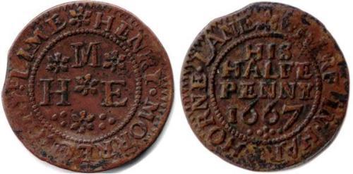 A half penny token of Henry Morrell of Hartshorne Lane, Westminster
