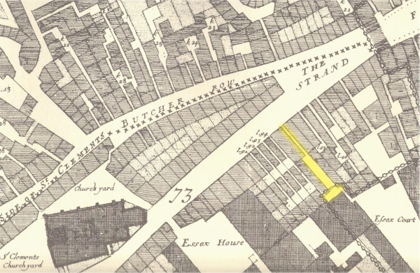 Location of the Palsgrave Head Court from John Ogilby & William Morgan's 1676 Map of the City of London