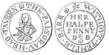 A half penny token issued in the name of the Palsgrave's Head Tavern