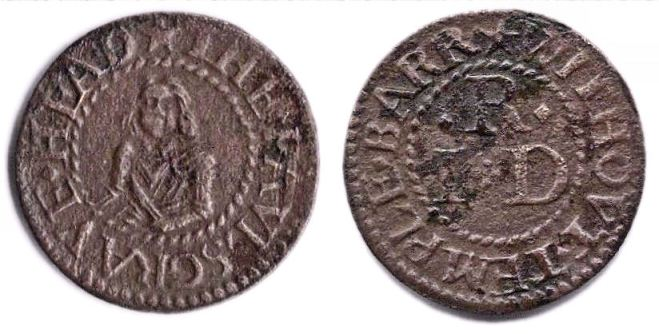 A farthing token from the Palsgrave's Head tavern, Temple Bar Without
