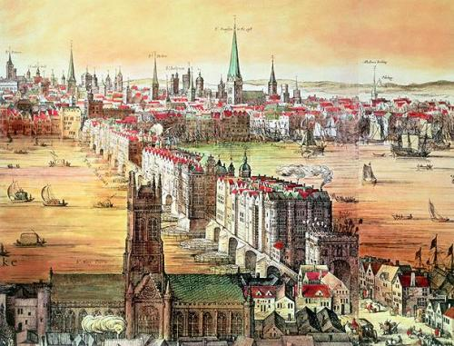 A View of 17th Century London & London Bridge from Southwark