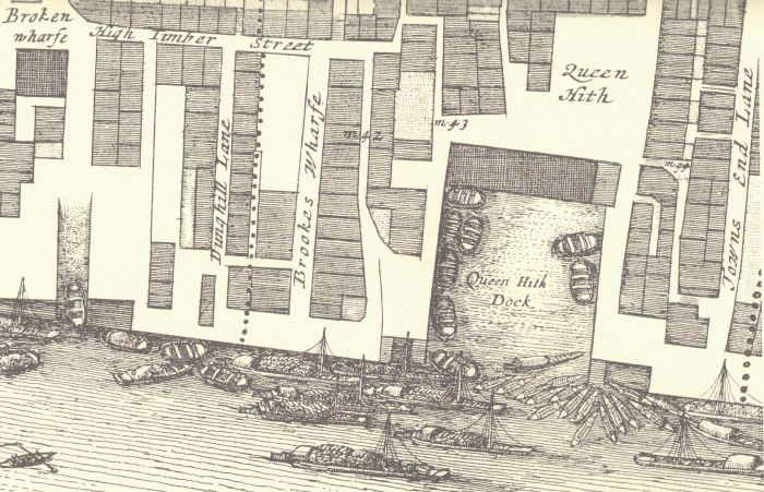 Queenhithe from John Ogilby & William Morgan's 1676 Map of the City of London