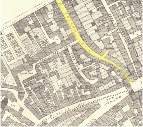 Shire Lane from John Ogilby & William Morgan's 1676 Map of the City of London
