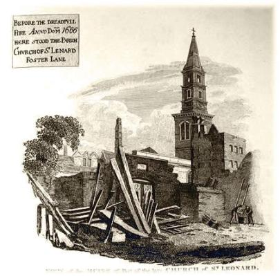 St. Leonard's Church, Foster Lane before the Great Fire of 1666