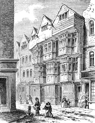 A view from the south west of a 17th Century three bayed, four storey house in Ship Yard (1761)