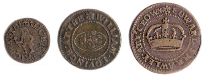 Mid 17th Century London Tokens - From left to right - a farthing, half penny and penny