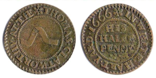 A half penny token issued by Thomas Clatworthy of White Hart Yard