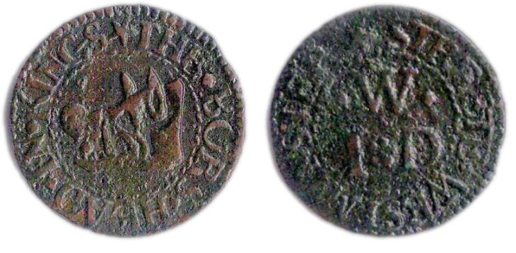 A farthing token issued in the name of the Boar's Head in King Street, Westminster