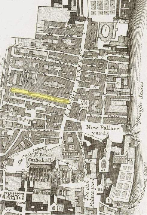 The location of Boar's Head Yard off King Street, Westminster (c.1720)