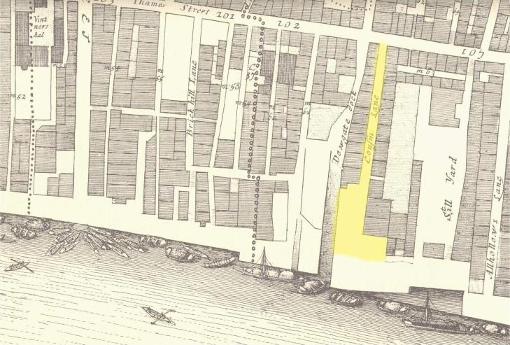 Cousin Lane from John Ogilby & William Morgan's 1676 Map of the City of London