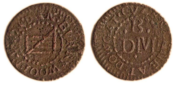 A farthing token issued in the names of Daniel Burry of Cousin Lane, London