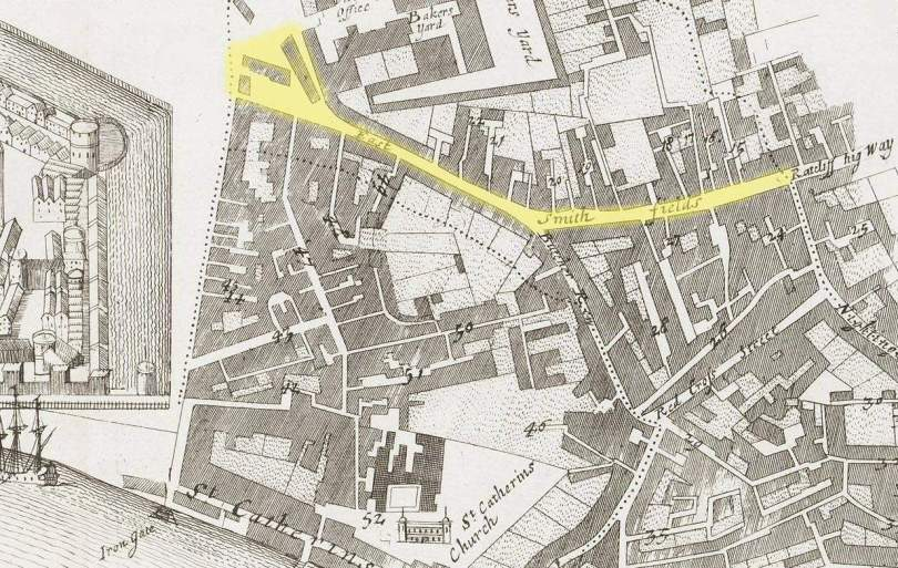 East Smithfield district of London (1720)