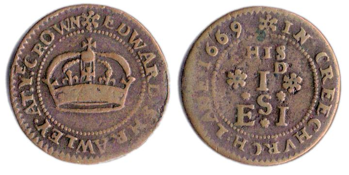 A penny token issued in the name of Edward Shrawley of Creechurch Lane, London