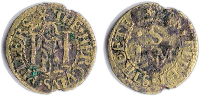 A farthing token issued in the name of The Hercules Pillars in Fleet Street, London