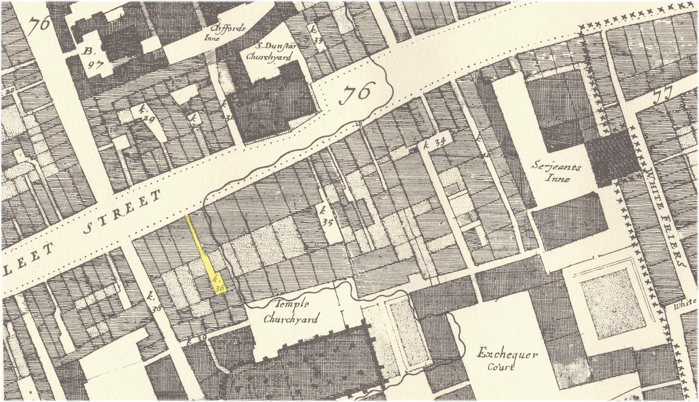 the location of hercules pillar alley off the south side of fleet street from john ogilby