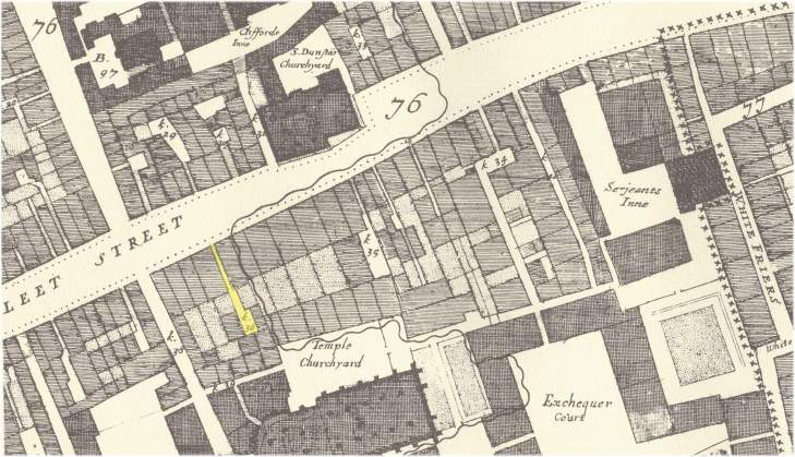 The location of Hercules Pillar Alley off the south side of Fleet Street from John Ogilby & William Morgan's 1676 Map of the City of London