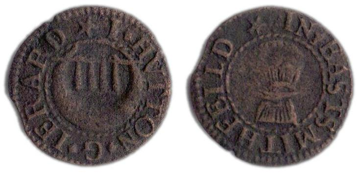 A farthing token issued in the names of Jerrard and Hutton, tradesmen in East Smithfield, London
