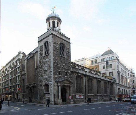 The Parish Church of St Katharine Cree at the junction of Chreechurch Lane and Leadenhall Street in the Aldgate Ward of the city.
