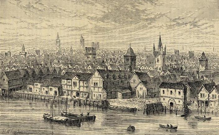 The neighbourhood of Steel Yard on the north bank of the River Thames, London. (c.1540).