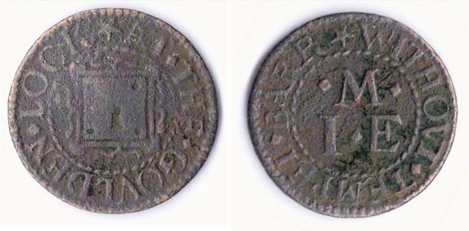 A farthing token issued in the name of the Golden Lock, Temple Bar Without, Westminster