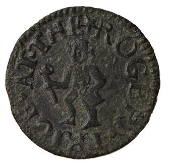 A further example of a Roger Price farthing indicating a jack or bombar in the left hand of the Black Boy