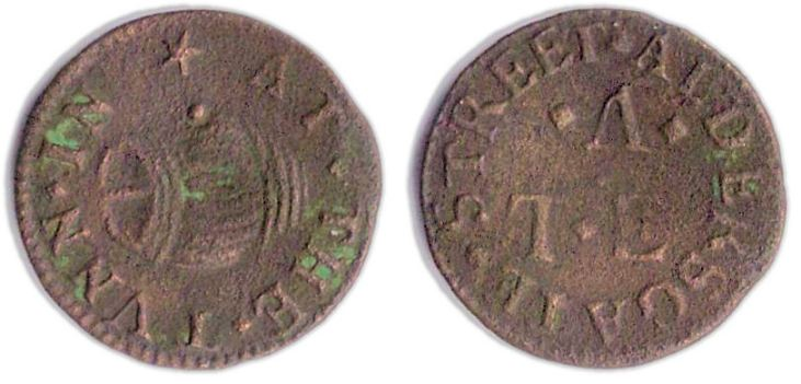 A farthing token issued in the name of the Tun in Aldersgate Street