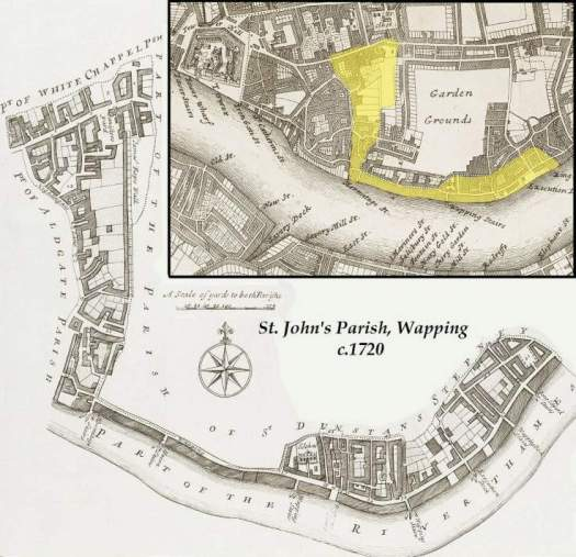 The Parish of St. John's Wapping with inset map indicating its relative location within Eastern London (c.1720).
