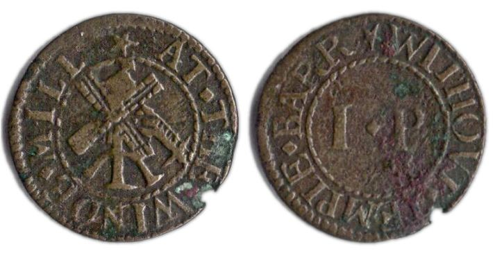 A farthing token issued in the name of the Wind Mill, Temple Bar Without, Westminster
