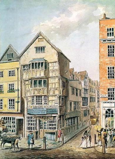 A late 18th century painting of the building which once housed the King's Head Tavern