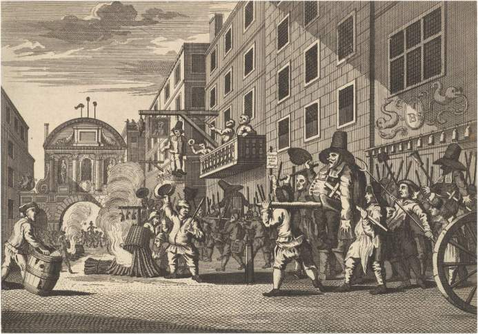 William Hogarth's depiction of a street celebration in April 1653 outside the King's Head tavern in Fleet Street applauding the dissolution of the Rump Parliment by Oliver Cromwell.