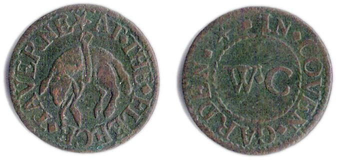 A farthing token issued in the name of the Fleece Tavern in Covent Garden, Westminster