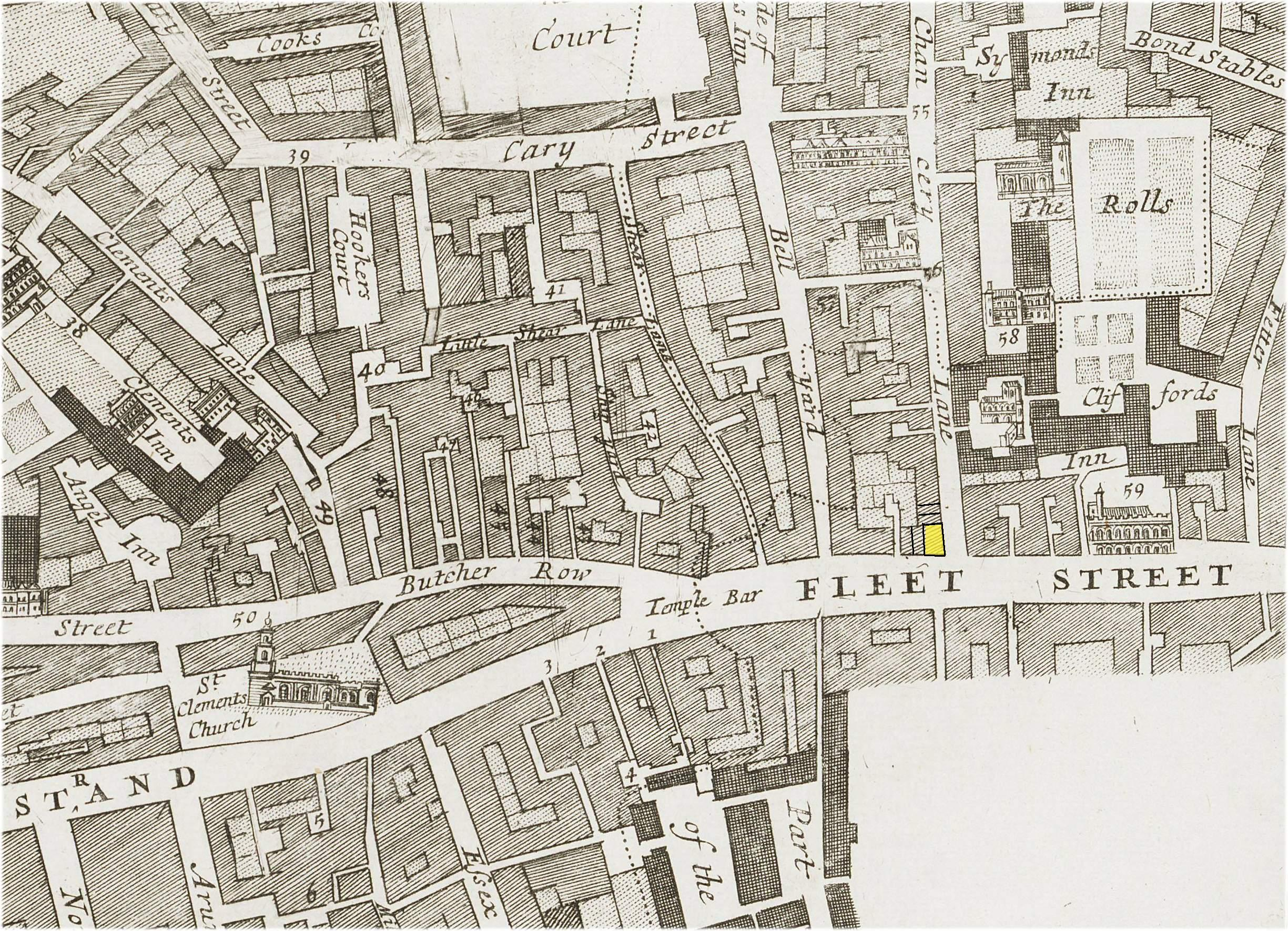 the location of the kings head tavern on the corner of chancery lane and fleet street