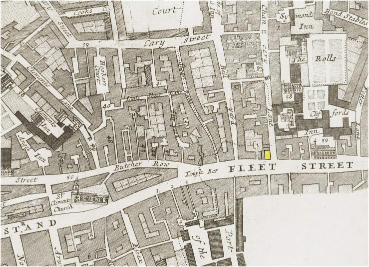 The location of the King's Head Tavern on the corner of Chancery Lane and Fleet Street, London (c.1720)
