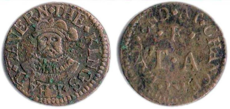 A farthing token issued in the name of the King's Head Tavern on the corner of Chancery Lane and Fleet Street, London
