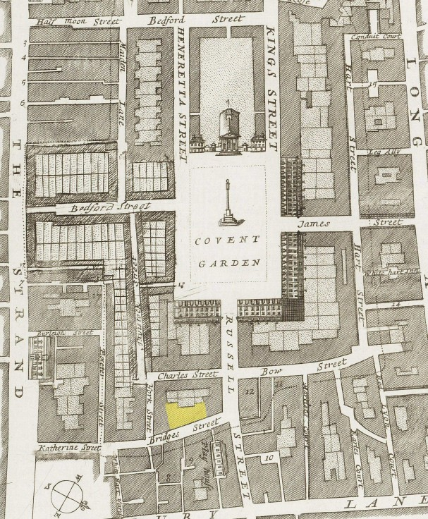 A plan of Covernt Garden (c.1720) showing the approxiamest location of the Fleece Tavern