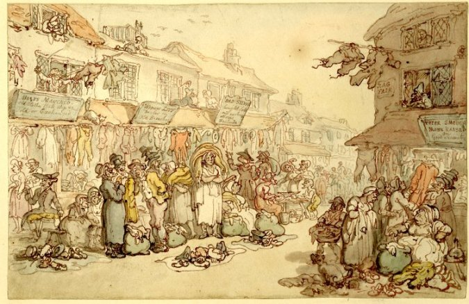 A depiction of a Rag Fair in Rosemary Lane, East London (late 18th century print by Thomas Rowlandson)