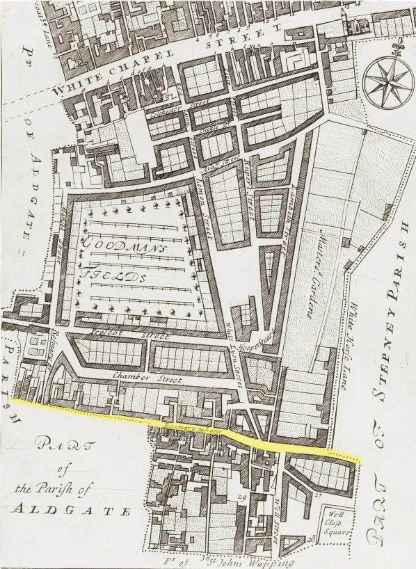 The section of Rosemary Lane which passes through the Parish of Whitechapel (c.1720)