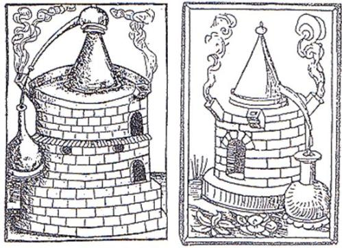 Near contemporary depictions of similar stone hearth mounted stills to the one shown on William Minshew's farthing Token (c.16 to 17th century woodcuts)