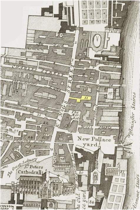 Part of the Parish of St. Margaret's, Westminster showing the location of Stable Yard (c.1720)