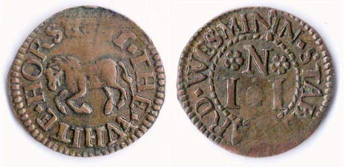 A farthing token issued in the name of the White Horse in Stable Yard, Westminster