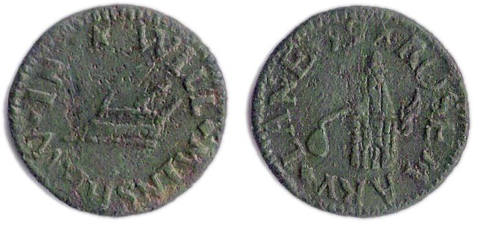 A farthing token issued in the name of William Minshew of Rosemary Lane in Whitechapel