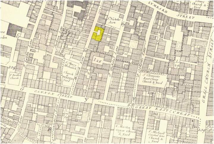 location of the White Bear Tavern and Later Pontack's in Abchurch Lane. Taken from John Ogilby & William Morgan's 1676 Map of the City of London