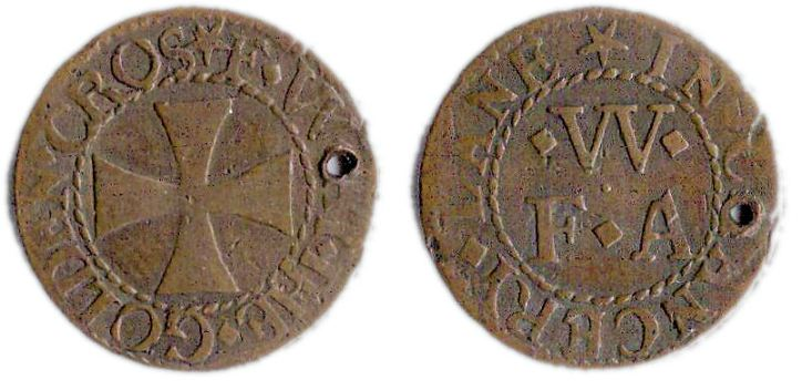 A farthing token issued in the name of the Gold Cross in Chancery Lane, London