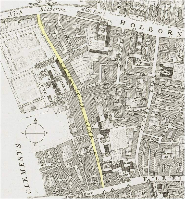The location of Chancery Lane, London (c.1720)